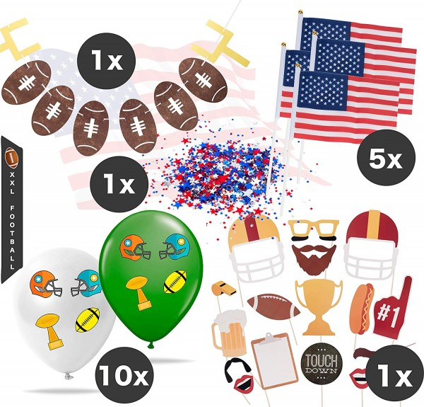 XXL American Football Super Bowl Dekoration Deko Set über 100 Teile