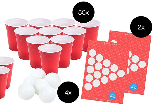 Beer Pong Set - Trinkbecher Pong Cups Plastikbecher Einwegbecher 475 ml